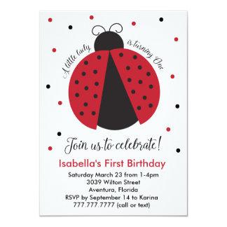 Red Ladybug Girl's First Birthday Card