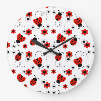 Red Ladybug Lady Bug Floral White Flowers Clock