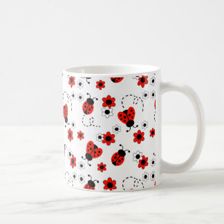 Red Ladybug Lady Bug Floral White Flowers Coffee Mug