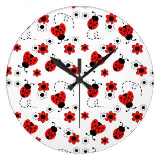 Red Ladybug Lady Bug Floral White Flowers Large Clock