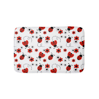 Red Ladybug Lady Bug Floral White Spring Flowers Bath Mats