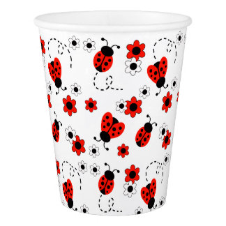 Red Ladybug Lady Bug Floral White Spring Flowers Paper Cup