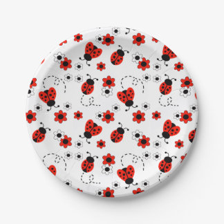 Red Ladybug Lady Bug Floral White Spring Flowers Paper Plate