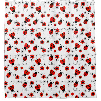 Red Ladybug Lady Bug Floral White Spring Flowers Shower Curtain