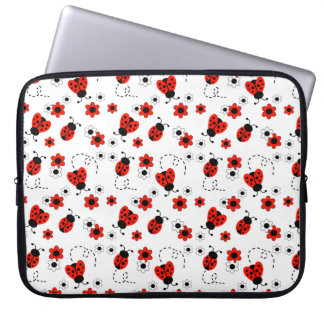 Red Ladybug Lady Bug White Floral Teen Girl Laptop Sleeve