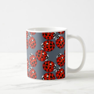 Red Ladybug on Grey Mug