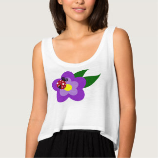 Red Ladybug on Lavender Purple Flower Singlet