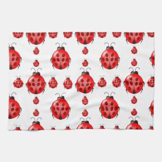 Red Ladybug Pattern Tea Towel