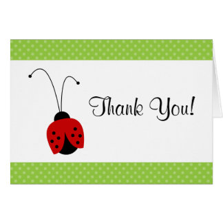Red Ladybug Polka Dot Thank You Note Card