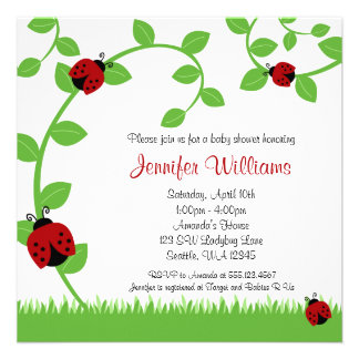 Red Ladybug Vines Baby Shower Personalized Announcements