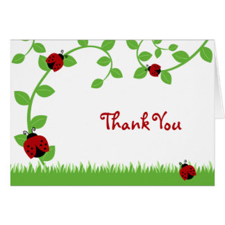 Red Ladybug Vines Thank You Note Note Card