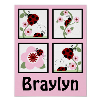 Red Ladybugs and Flowers Personalized Art Poster