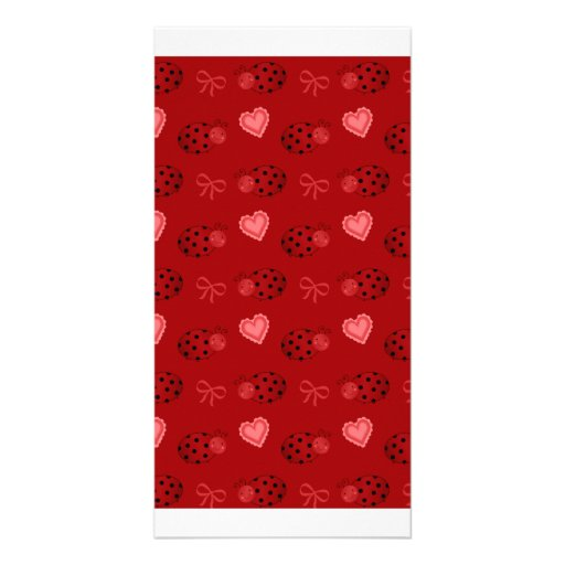 Red ladybugs hearts bows pattern photo card template