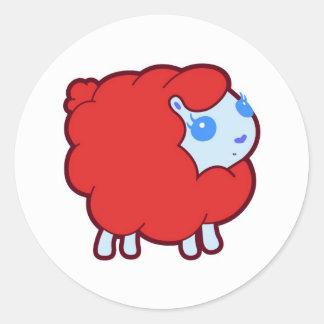Red lamb round sticker
