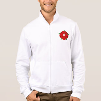 Red Lancaster Rose Men's Fleece Jacket
