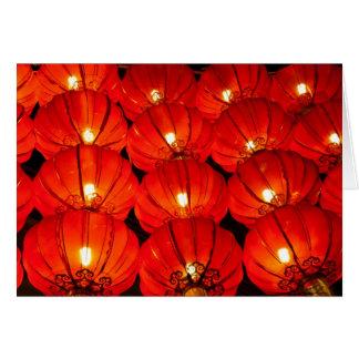 Red lantern at night greeting card