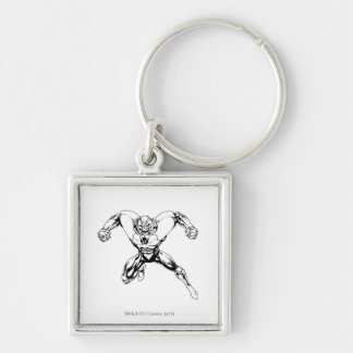 Red Lantern Corps - Rage Jump 3 Silver-Colored Square Key Ring