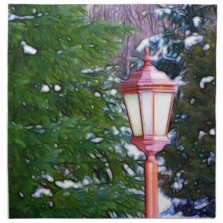 Red Lantern in winter Napkin