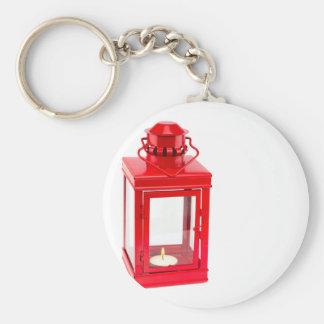 Red lantern with burning tealight on white key ring