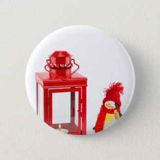 Red lantern with penguin figurine on white 6 cm round badge