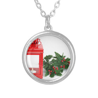 Red lantern with tealight holly twigs and berries silver plated necklace