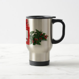 Red lantern with tealight holly twigs and berries travel mug