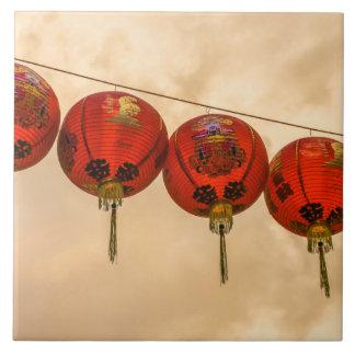 Red lanterns in Chinatown ceramic photo tile