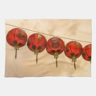 Red lanterns in Chinatown kitchen towel