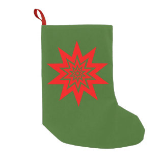 Red Laser Starburst on Green Small Christmas Stocking