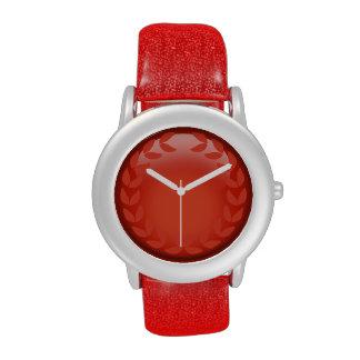 Red laurel monogram watch