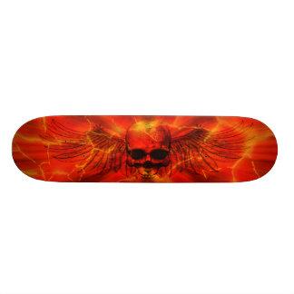 Red Lava Burst Winged Skull 19.7 Cm Skateboard Deck