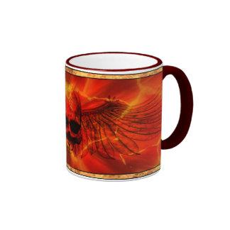 Red Lava Burst Winged Skull Coffee Mug
