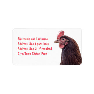 Red Layer Hen Tall Profile Photo Address Label