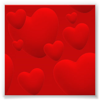 RED LAYERED 3D HEARTS LOVE MOTIVATIONAL SWEETHEART PHOTO PRINT