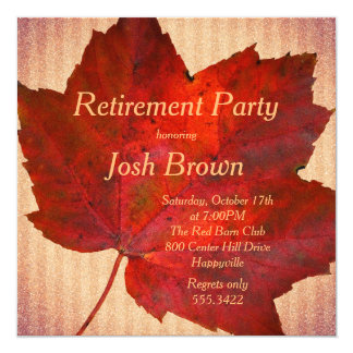 Red Leaf Fall Retirement Party 13 Cm X 13 Cm Square Invitation Card