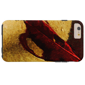 Red Leaf on Beach Abstract Impressionist Tough iPhone 6 Plus Case