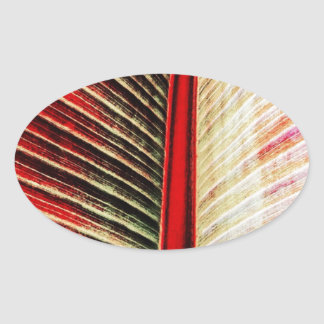 Red Leaf Oval Stickers