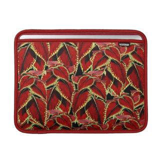 Red Leaf Pattern On Black Sleeve For MacBook Air