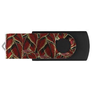 Red Leaf Pattern On Black USB Flash Drive