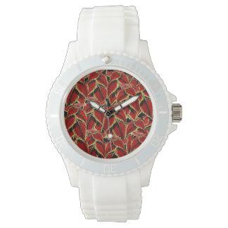 Red Leaf Pattern On Black Watch
