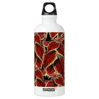 Red Leaf Pattern On Black Water Bottle