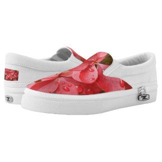 Red Leafs Custom Zipz Slip On Shoes,  Men & Women