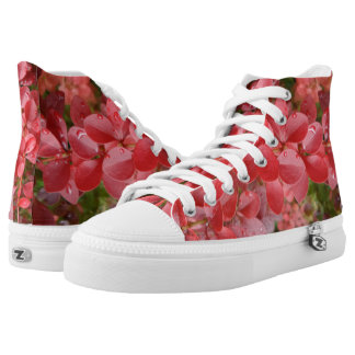 Red Leafs Zipz High Top Shoes,White Printed Shoes