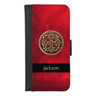Red Leather Celtic Knot Wallet Case