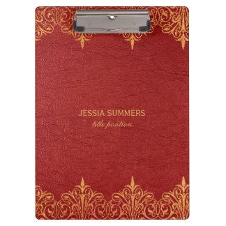 Red Leather Gold Border Frame Clipboard