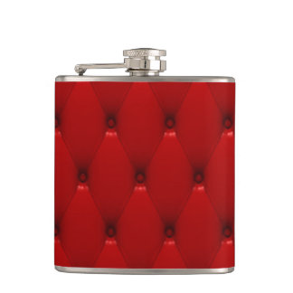 RED LEATHER HIP FLASK