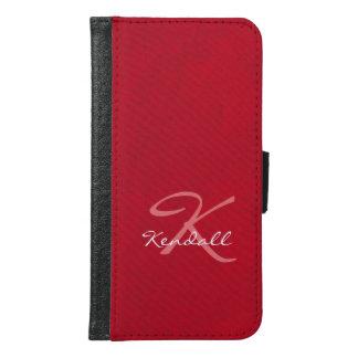 Red Leather Monogram Samsung Galaxy S6 Wallet Case