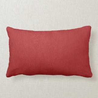 Red Leather Texture Print Lumbar Pillow