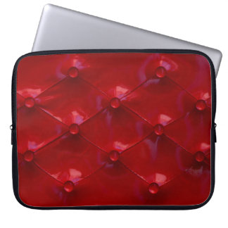 Red Leather Upholstery texture pattern elegant Laptop Sleeves