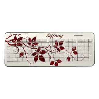 Red Leaved Virginia Creeper Vine Add Your Name Wireless Keyboard